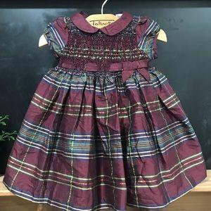 Janie and Jack Silk Blend plaid Burgundy Dress 3-6